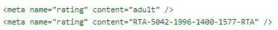 I codici per i meta tag delle pagine per adulti